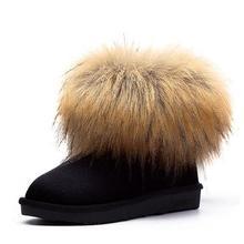2016 time-limited invierno botas mujer gneuine recoon real natural de zorro grande botas de nieve mujeres bajo tubo corto botas de tobillo zafiro femenina