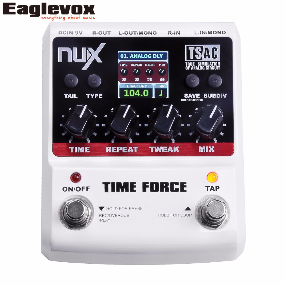 NUX TIME FORCE Multi Digital Delay Guitar Pedal 11 delay models include Tape, Analog and Reveres nux 1 8 lcd time force delay guitar effect pedal white black