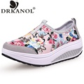 New floral flat platform  shoes women fitness slimming slip on casual shoes print breathable height increasing women shoes