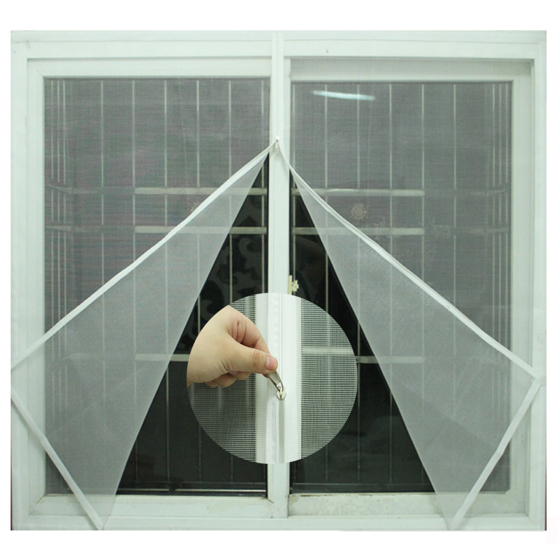 Mosquito Nets For Windows Self-adhesive Zipper Easy Open Mosquito Screens DIY Magic Stickers SimpleDoor And Window Screen Custom