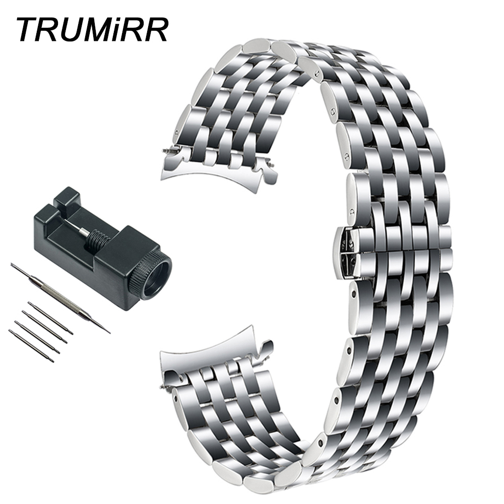 Curved End Stainless Steel Watchband 22mm +Tool for Samsung Galaxy Watch 46mm SM-R800 Wrist Band Link Strap Replacement BraceletCurved End Stainless Steel Watchband 22mm +Tool for Samsung Galaxy Watch 46mm SM-R800 Wrist Band Link Strap Replacement Bracelet