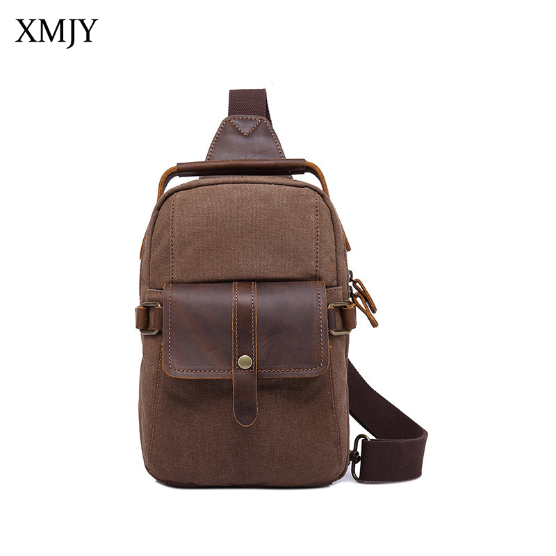 XMJY Men Chest Bags Canvas Leather Shoulder Messenger Bag Vintage Crossbody Sling Packs Short Trip Travel Small Bag Handbags augur 2018 men chest bag pack functional canvas messenger bags small chest sling bag for male travel vintage crossbody bag