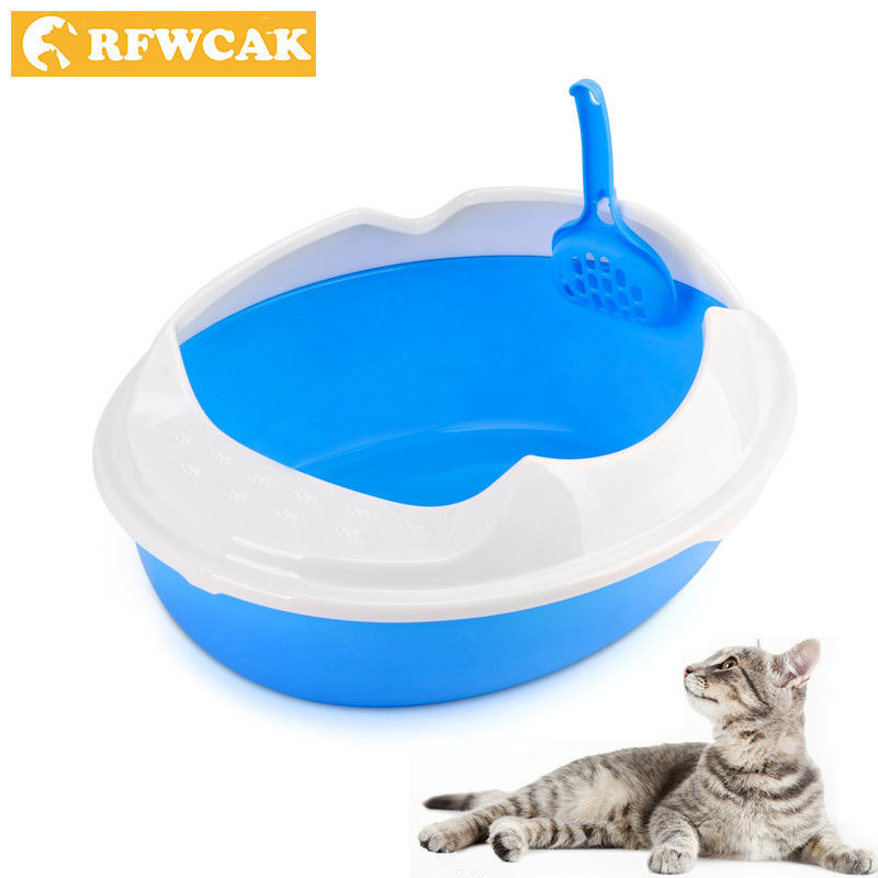 RFWCAK High Edging Detachable Plastic Pet Litter Box Semi-closed Anti-Splash Reusable Cat Bedpans Pet Toilet Cleaning Supplies