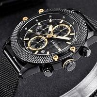 CADISEN Watches Men Sport Chronograph Fashion Watch Men's Mesh Band Leather Strap Waterproof Casual Quartz Watch Stainless Steel Quartz Watches