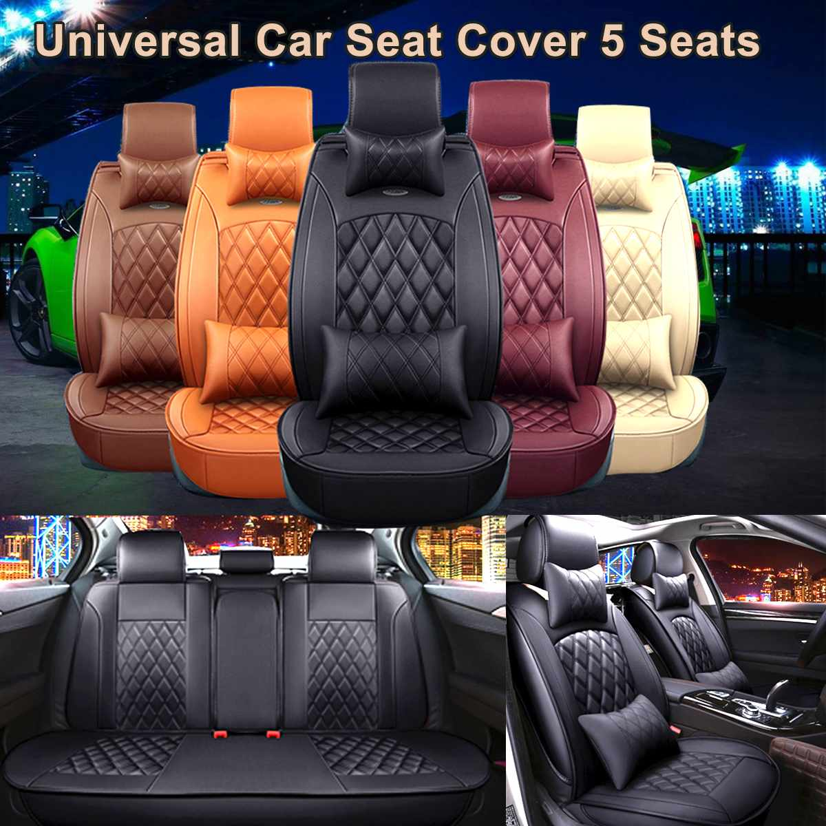 5 Seater Universal Car Seat Cover PU Leather Full Front + Rear Cushion Covers Waterproof For BMW/VW/Honda/Audi/Ford/Renault