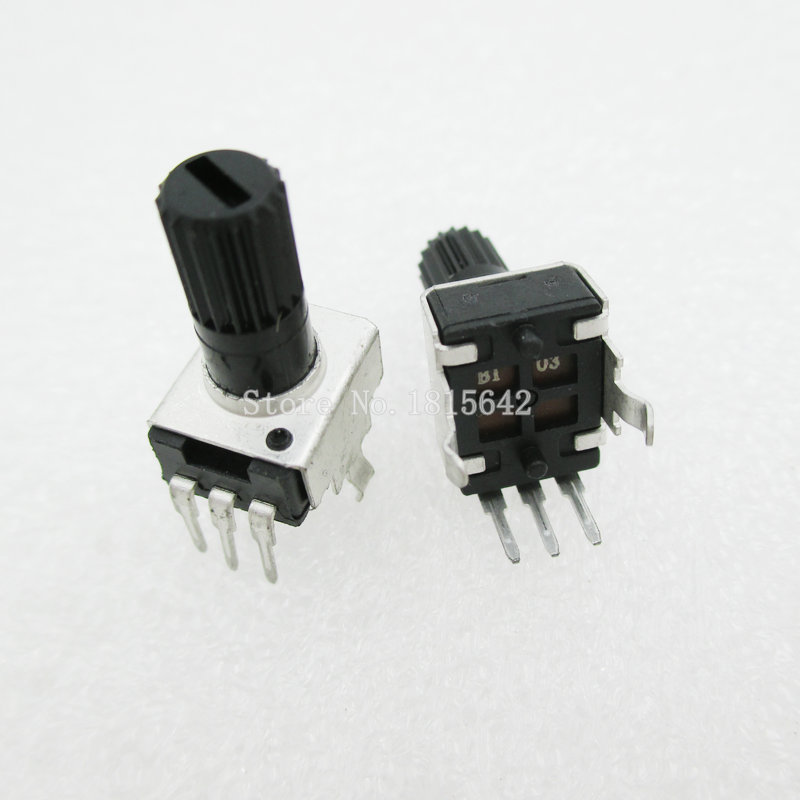 5PCS/LOT RV09 B10K B103 Potentiometer Adjustable Resistance 12.5mm Shaft 3 Pins 0932 Vertical Adjustable Trim Pot WH09