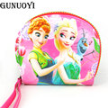 GUNUOYI New Cartoon Print Yellow People Women Leather Coin Purse Coin Wallet Lovely Girl Zip Zero Wallet Change Purse