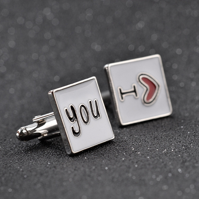 Cufflink I Love My Wife Design Husband Cuff Link Shirt Charm Zinc Alloy Cufflinks