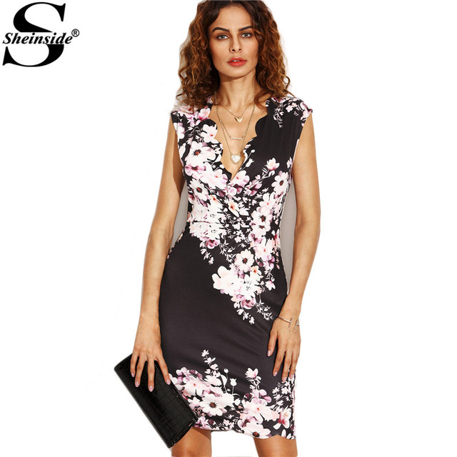 425e19c634f762 Sheinside Black Flower Print Plunge Scalloped Trim Sheath Mini Dress Office  Ladies V Neck Bodycon Short