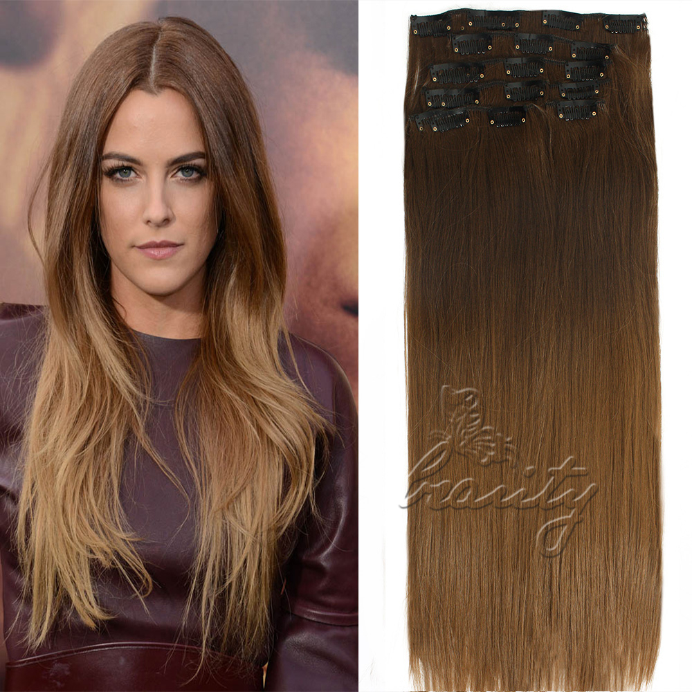 24 Inch 7pcs 16 Clips Dip Dye Ombre Hair Extensions Long Straight