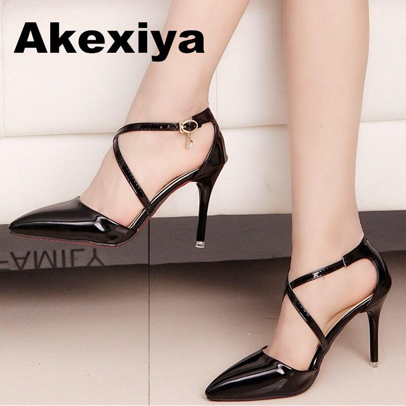 Spring/Autumn Women Pumps Women's Shoes Buckle Strap High Heel Thin Heels Pointed Toe Casual Fashion Cross-tied tenis feminino  цены онлайн