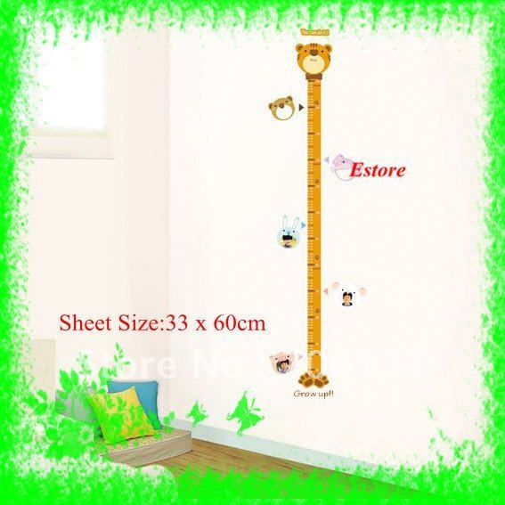 Free Shipping+33*60cm Height Growth Chart Wall Decor Removable Sticker Decals