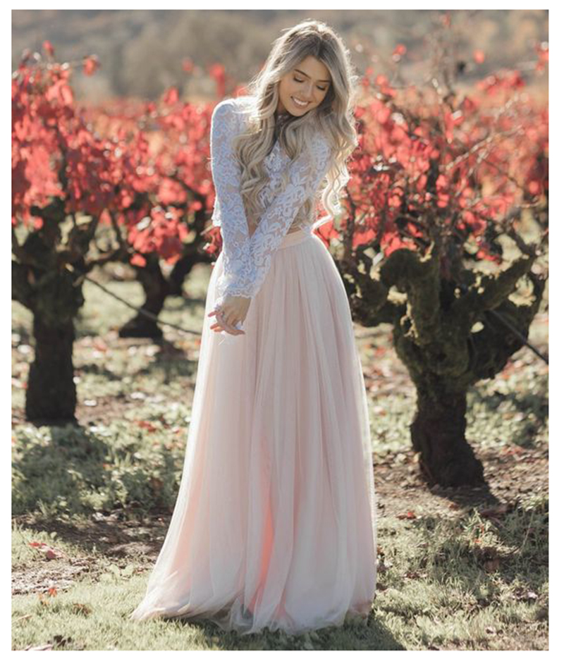 LORIE Boho Long Sleeve Wedding Dress 2019 Robe de mariee Two Pieces White Lace Top Pink Bridal Dress Puffy Tulle Wedding Dresses