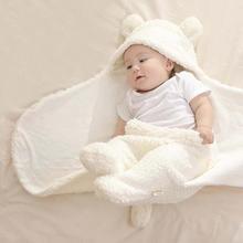 Plush Cotton Baby Swaddle Wrap Blanket Newborn Warm Comfortable Cartoon Swaddling Winter Wrap Baby Bedding