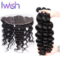 8A Peruvian Loose Wave with Frontal Ear to Ear Lace Frontal Closure with Bundles Wavy Peruvian Virgin Human Hair with Closure