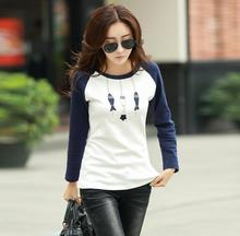 Autumn winter long sleeve t-shirt women spell color o neck cotton tees bottoming clothes female three fishes print lady t shirts