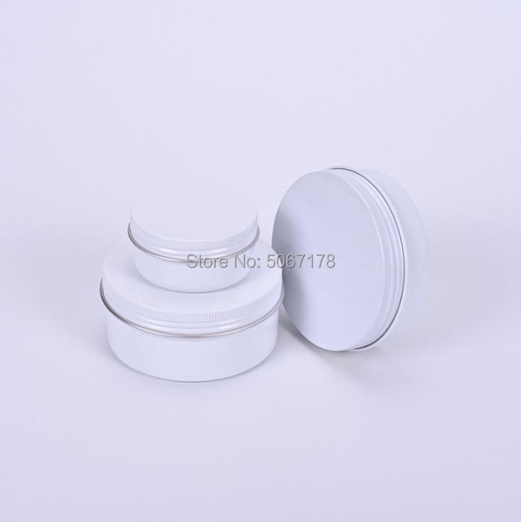 30pcs 10g 15g 20g 30g 50g 60g 80g Aluminum Jars Empty Cosmetic Makeup Cream Lip Balm Gloss Metal Aluminum Tin Containers White