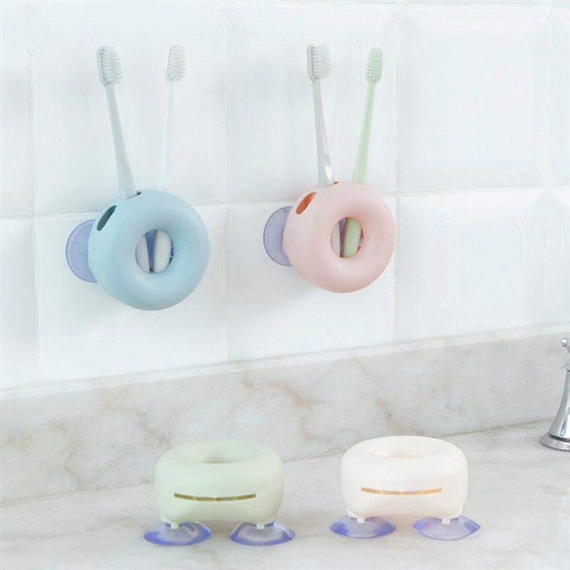 Image 3 - 4pcs/Pack Wall Mounted Toothbrush Holder With Strong Suction Cups Donut Shaped Bathroom Accessories(Pink, Blue, Green And Beige)-in Toothbrush & Toothpaste Holders from Home & Garden