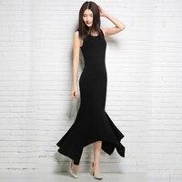 Zomer elegante vrouwen lange spaghetti dress hoge taille mouwloze o-hals zwart rood gebreide bodycon party mermaid jurken