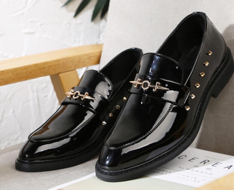 Pic Occasionnels Boucle En Personnalisé Slip Chaussures Bout Simples Weding De Mode Verni Cuir on Rivets Hommes As Pointu PTT8qwUg