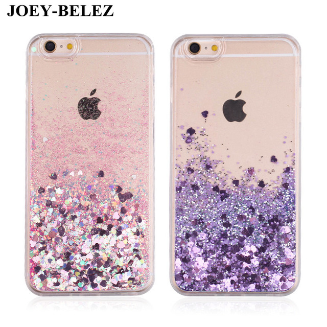 Love Heart Glitter Dynamic Liquid Quicksand Cases For iPhone 6s Case 7 Plus  5 5S Soft TPU Stars Cover For iPhone 7 silicone Case d75ab6166