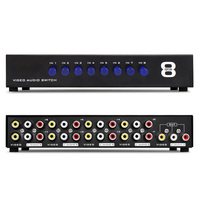 8 In 1 Out Composite Video Audio 3 RCA AV Switch Switcher Box Selector Repeater 8 Port Video Audio Splitter For HDTV LCD DVD