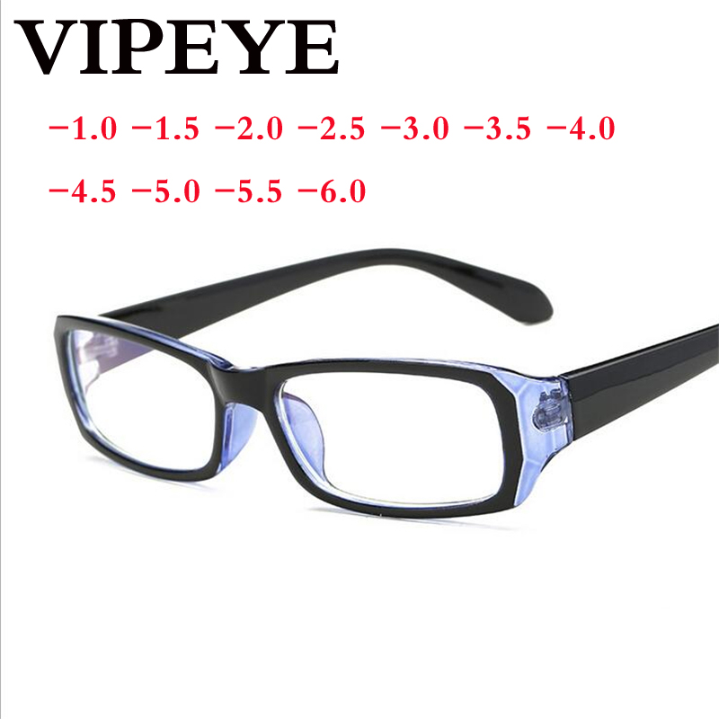 -1.0 -1.5 -2.0 to -6.0 Simple Full Frame Finished Myopia Glasses With Degree Women Men Short-sight Eyewear Blue Glasses Frame