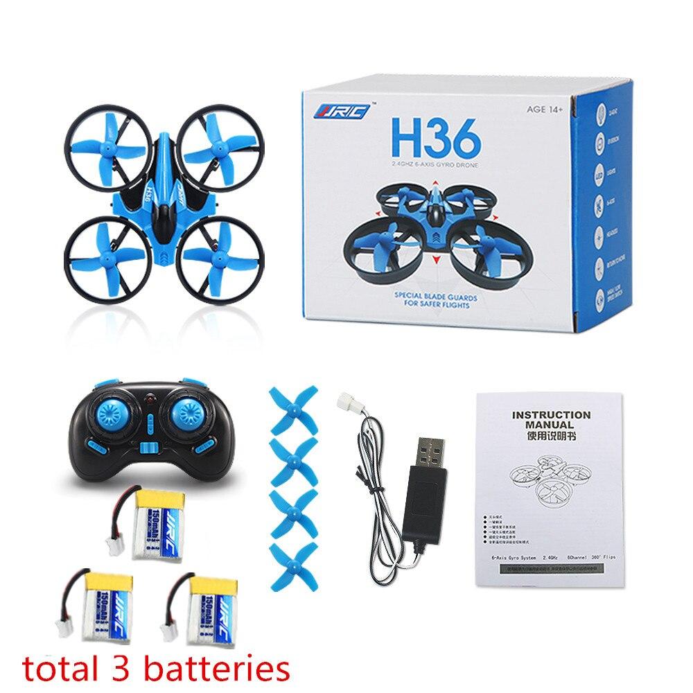 JJRC H36 Mini Drohne Headless Modus 2,4G 4CH Tasche Drohnen RC Hubschrauber Eders Quadcopter 3 stücke Batterie VS H20 H8 E010 CX10