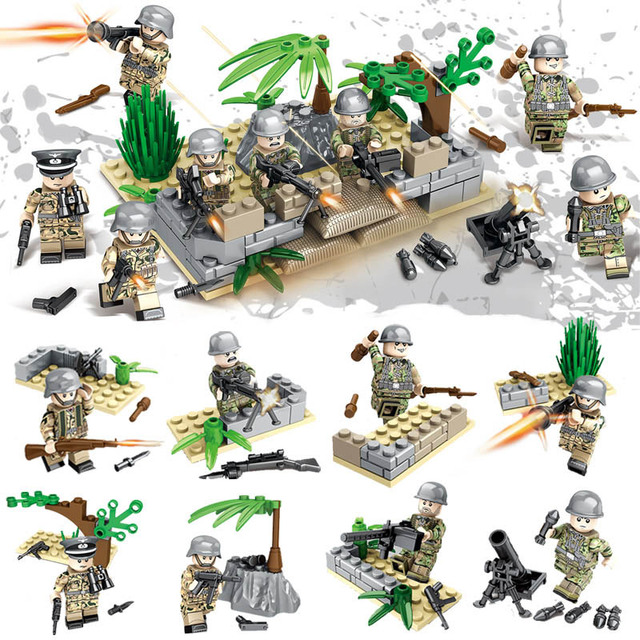 10 German Mini Figuren #3  f..Lego Cobi Army WW2 Military Custom Blocks MOC
