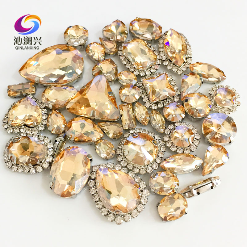 Golden champagne Mix size Crystal buckle+claw rhinestone,Silver base galss sew on stones diy/Clothing accessories 50pcs/pack