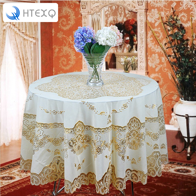 HTEXQ Hot European Round Table Cloth Waterproof O Garden Embroidered Dining for Wedding Cushion Package