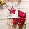 El Bebé Arropa 2017 Marca Verano de Los Niños Arropa los Sistemas t-shirt + Juego de pantalones Que Arropan Estrella Impreso Ropa recién nacido Trajes Del Deporte