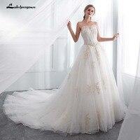 Luxurious white wedding dress 2018 gold appliques sweetheart bride wedding gowns Vestido De Novia