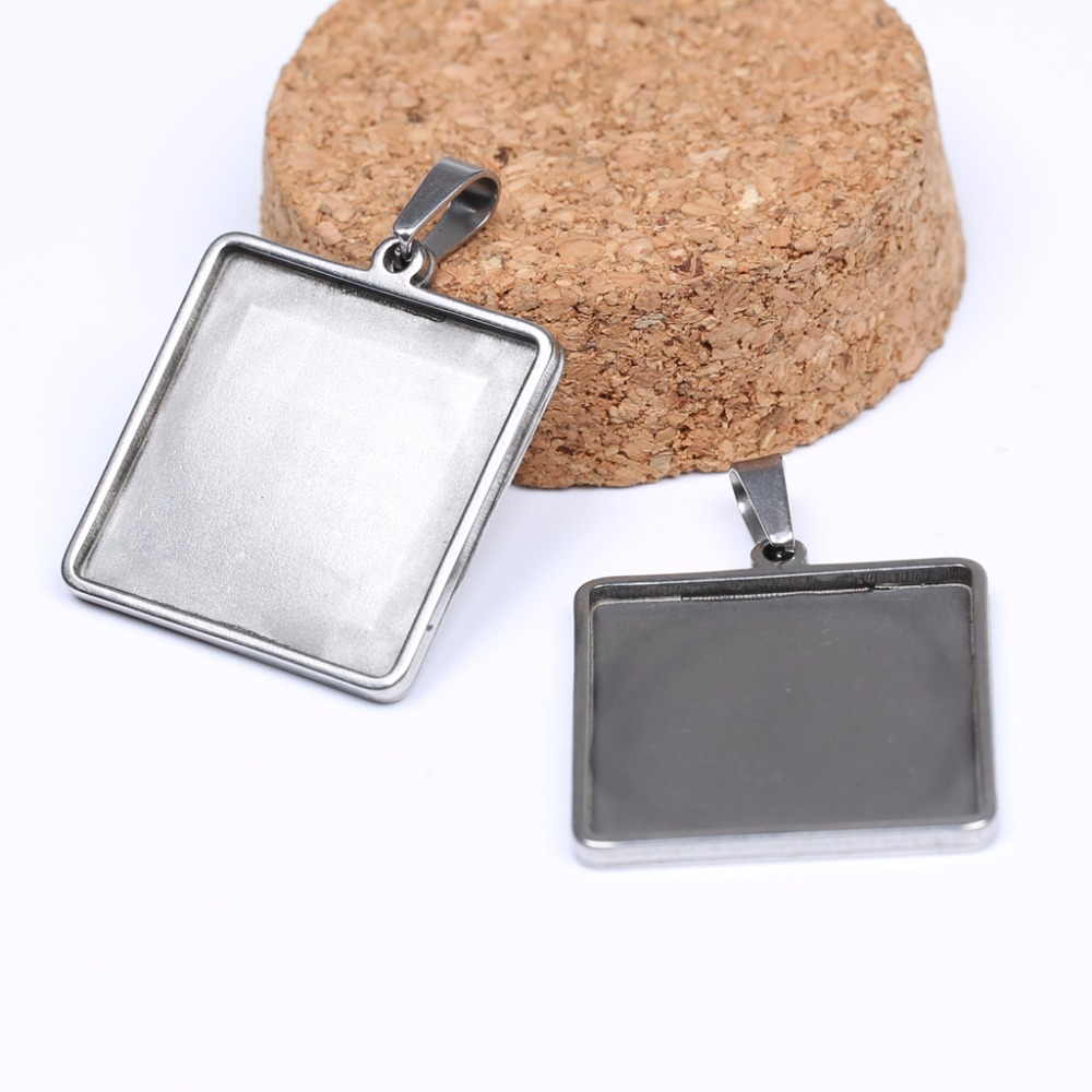 onwear 10pcs stainless steel 25mm square cabochon setting trays diy blank pendant bezel for jewelry necklace making