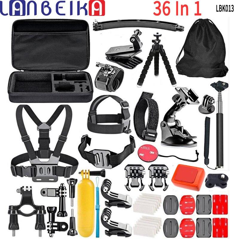 LANBEIKA accessoires caméra 36 en 1 Gopro faisceaux avec harnais de poitrine trépied pour GoPro 7 6 5 4 3 + SJCAM SJ4000 SJ5000 SJ6 SJ7 YI