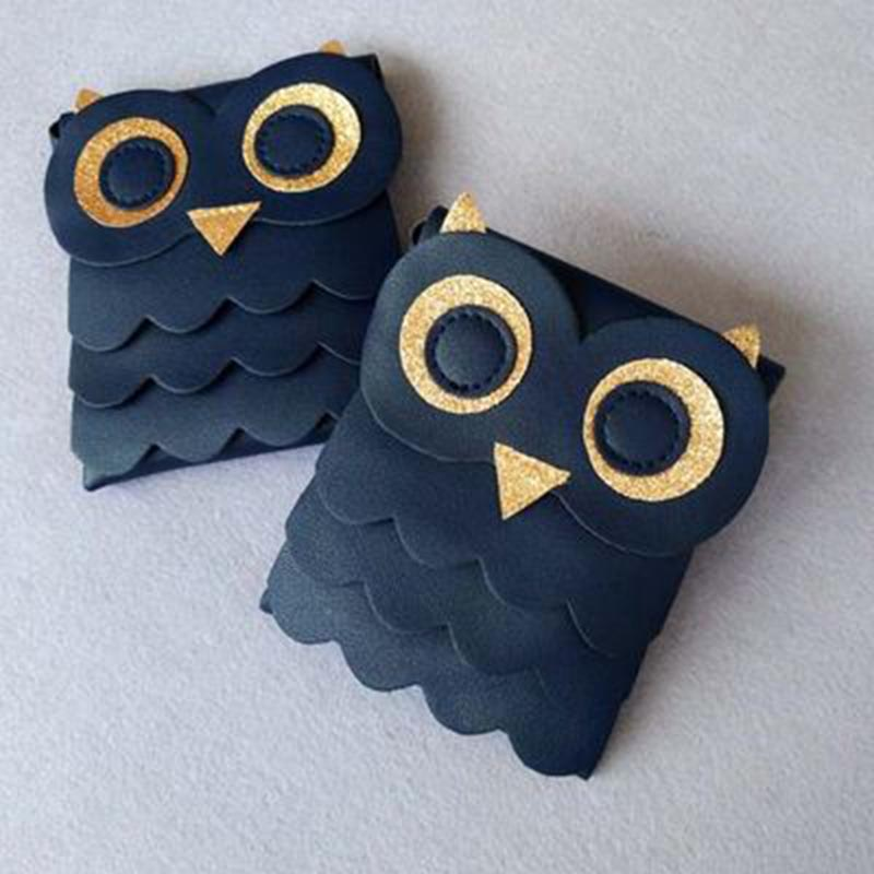 HOB Cute Girls Small Coin Change Purse Wallet Childrens Wallet Money Holder Owl Cotton Bags Pouch Kids Gift Dark Blue 88 New