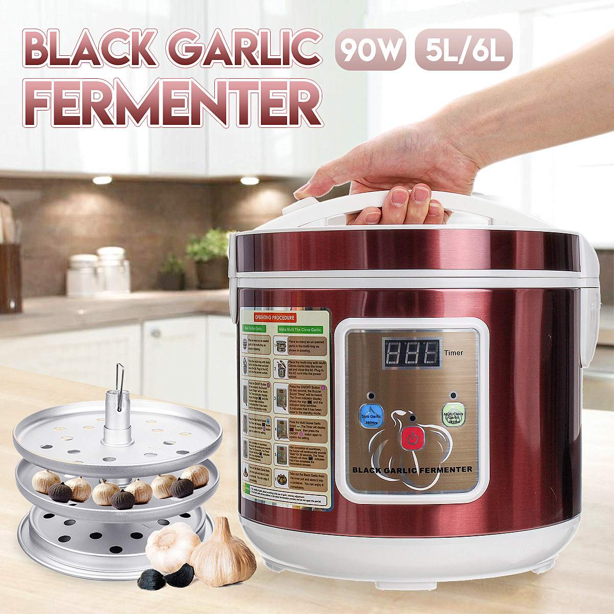 5L 6L 90W Automatic Black Garlic Fermenter Maker 110V/220V Home diy Fermentation Machine Kitchen Cooking Tools Dropshipping5L 6L 90W Automatic Black Garlic Fermenter Maker 110V/220V Home diy Fermentation Machine Kitchen Cooking Tools Dropshipping