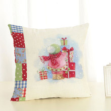45X45cm Merry Christmas Decorations for Home New Year Gift Pillowcase Santa Claus Reindeer Linen Cover Cushion Navidad Natal
