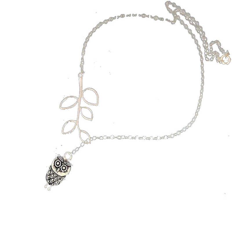 Sanwony New Fashion naszyjniki kobiet dziewczyny proste mała sowa liście frędzle łańcuch ze stopu naszyjnik biżuteria naszyjnik 38