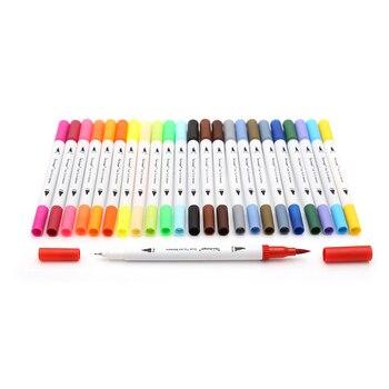 Premium 24 Kolory/Box Podwójna Końcówka Art Marker na bazie Wody 0.4mm Dzieła Wskazówka z 1-2mm Miękkie Końcówki Pędzla Markery dla Szkic rysunek