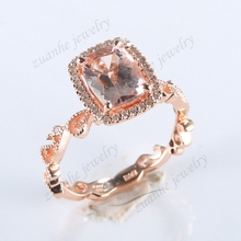 1.28ct 6x8mm Cushion Natural Morganite SI/H Diamond Solid 10k Rose Gold Millgrain Filigree Engagement Wedding Ring Fine Jewelry