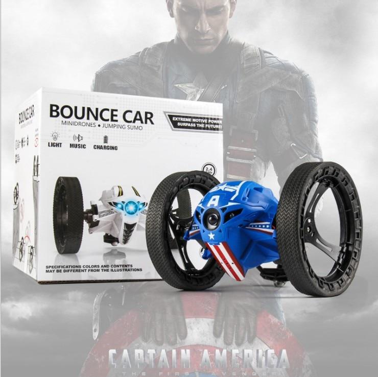 RC coche Control remoto coche rebote 2,4G coche saltador con rotación de rueda Flexible LED luces nocturnas RC Robot coche para juguete de regalo para niño