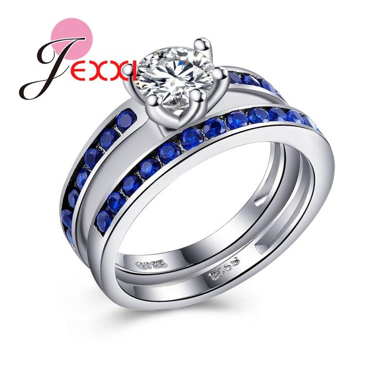 jexxi nuevas mujeres de boda exquisito hecho a mano joyera de plata de ley anillos