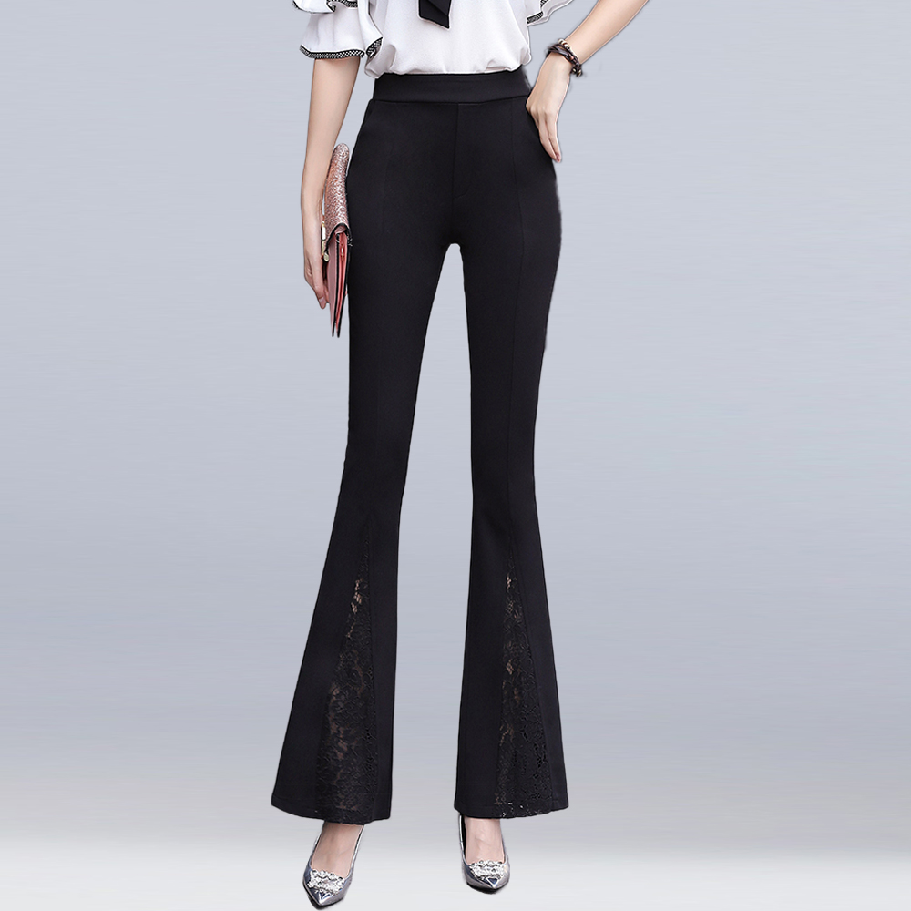 women high waist lace stitching flare pants summer fashion long trousers female office w ...