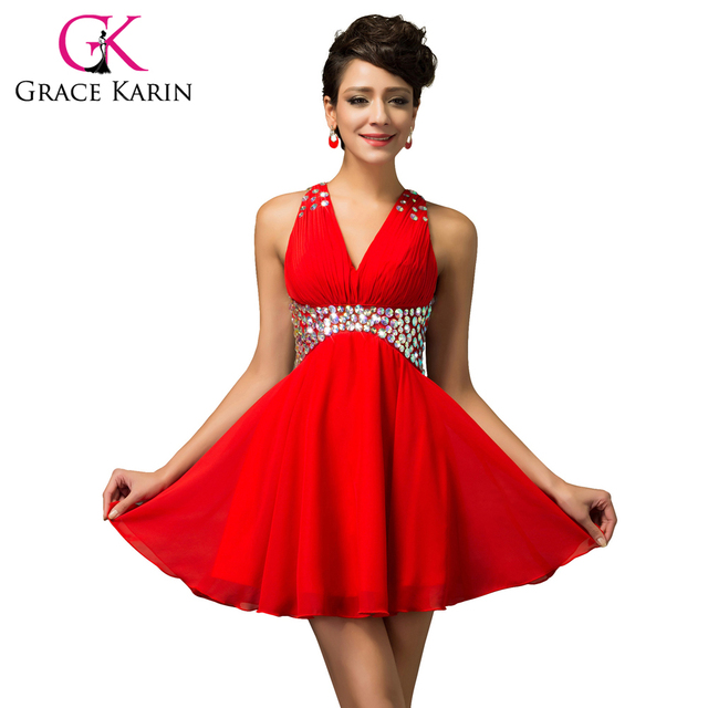 New Grace Karin Sexy V-Neck Red High Low Cocktail Dresses Mini Beading Ruched Backless Short Party Dress Banquet CL007565