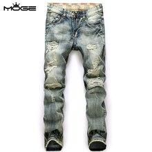 MOGE мужчины рваные джинсы хлопок моды джинсы rasgado джинсы мужчины хип-хоп жан homme марки de luxe вакеро hombre marca famosa