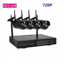 4CH SUCAM 720 p Sistema de Câmera de Segurança Sem Fio Plug and Play 4 peças 1.0MP Câmera Wi-fi Ao Ar Livre Câmera de Vigilância de Vídeo conjunto