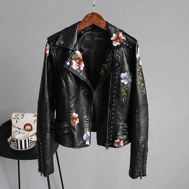 2019 New Boutique Ladies Motorcycle   Leather   Casual Jacket Black Beige White Embroidered Liu Ding Female Short   Leather   Coats