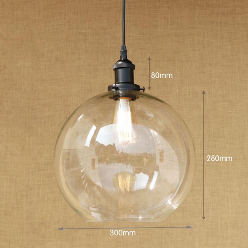 Modern 3 sizes Spherical glass shade pendant lamp LED Edison bulb ...