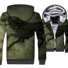 mans jackets coats warm 2018 brand tracksuits thick zipper wool liner hoodies hipster 3D Printed swag clothing Game of Thrones